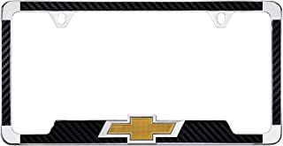 product image for Chrome Plated License Frame with Simulated Carbon Fiber Inlays and 3D Chevy Bowtie (Black)