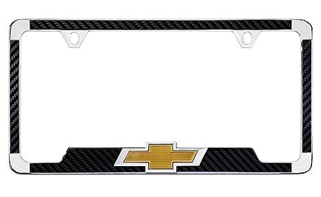 Amazon.com: Chevy 3D Bowtie Carbon Fiber Vinyl Inlay License Plate ...