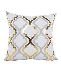 wintefei Throw Pillow Case Gold Foil Printing Cushion Cover Decorative Sofa Bed- 3#