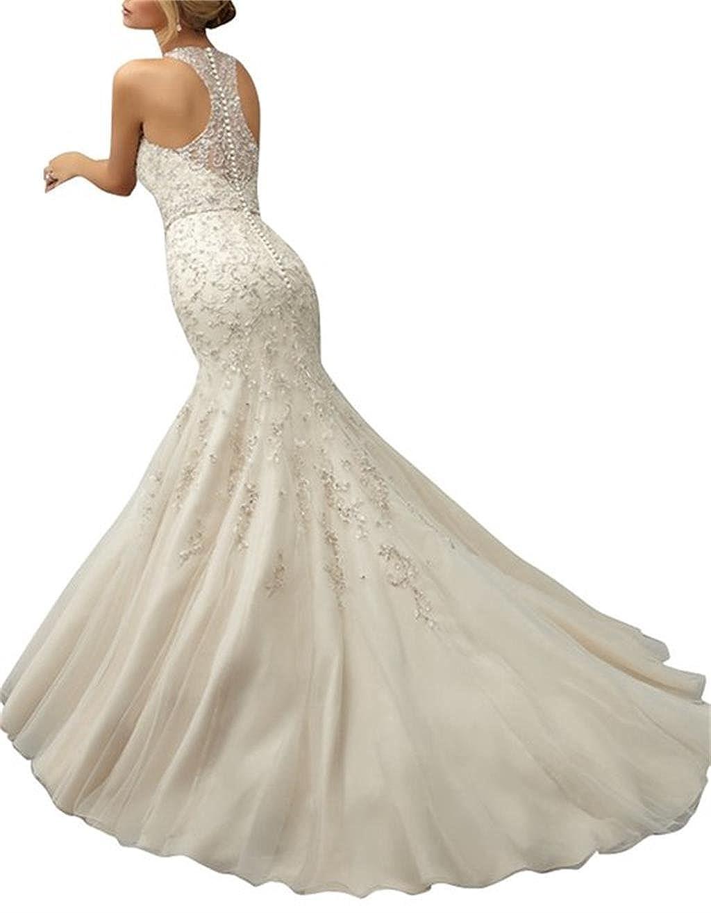 LYDIAGS - Vestido de novia - corte imperio - Sin mangas - Mujer Blanco blanco 36: Amazon.es: Ropa y accesorios