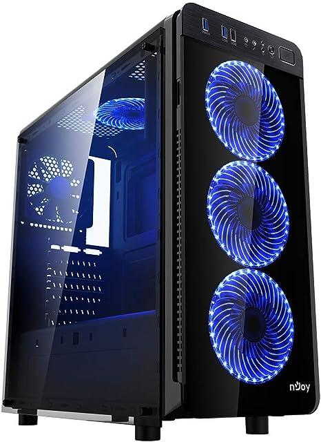 Njoy Ice Cage Caja de PC con Cristal y LED, Gabinete Gamer ATX, x5 Ventiladores incluidos, x2 USB 3.0: Amazon.es: Informática