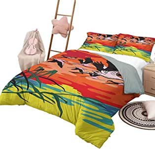 DayDayFun 3 Piece Bedding Sets Flamingo 3 Piece Bedspreads Coverlet Flamingos Flying in The Air with Horizon Landscape Illustration Savannah Artwork King Size Multicolor