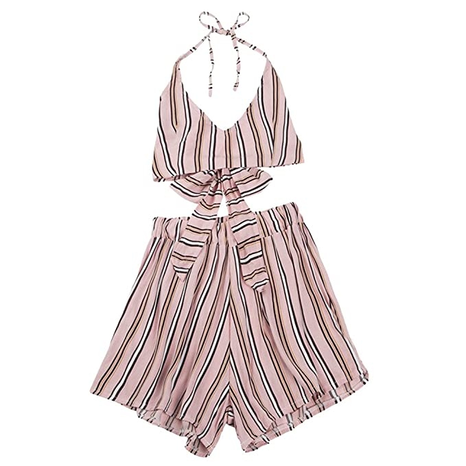 8cb24739e676 Amazon.com  Handyulong Women Rompers Two Piece Print Backless Self Tie Cami  Shorts Casual Beach Jumpsuit Playsuit for Teen Girls  Clothing