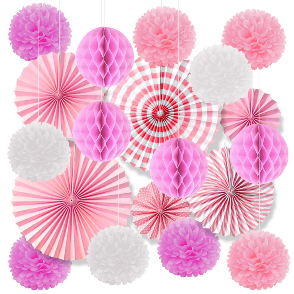 Alintor 19 Pcs Paper Decorations Hanging - Tissue Paper Pom Poms, Paper Honeycomb Balls, Hanging Paper Flower Fan Great for Wedding, Birthday Party, Carnival, Celebration, Graduation Party Decoration