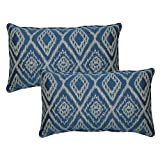 Ikat Spa Outdoor Lumbar Pillow with Welt (2 Pack)