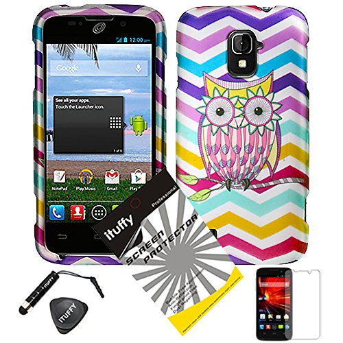 4 items Combo: ITUFFY (TM) LCD Screen Protector Film + Mini Stylus Pen + Case Opener + Aqua Blue Pink Yellow Purple Chevron Wave Owl Design Rubberized Snap on Hard Shell Cover Faceplate Skin Phone Case for ZTE Majesty / Z796c - StraightTalk (Wave Owl)