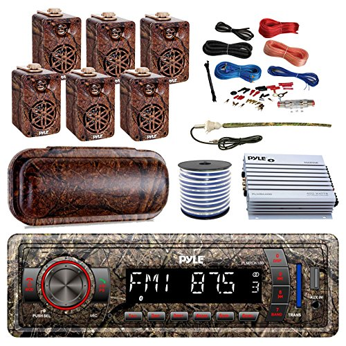 (PyleMarine Single-DIN Bluetooth MP3 USB AUX Camo AM/FM Radio, 6X 3.5