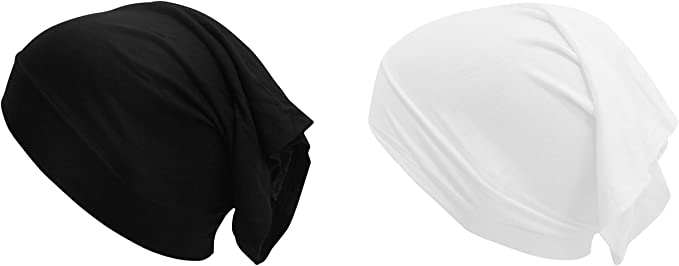 Women Under Scarf Hijab TIE BACK Bone Bonnet Cap Stretchy 15 Colours Black White