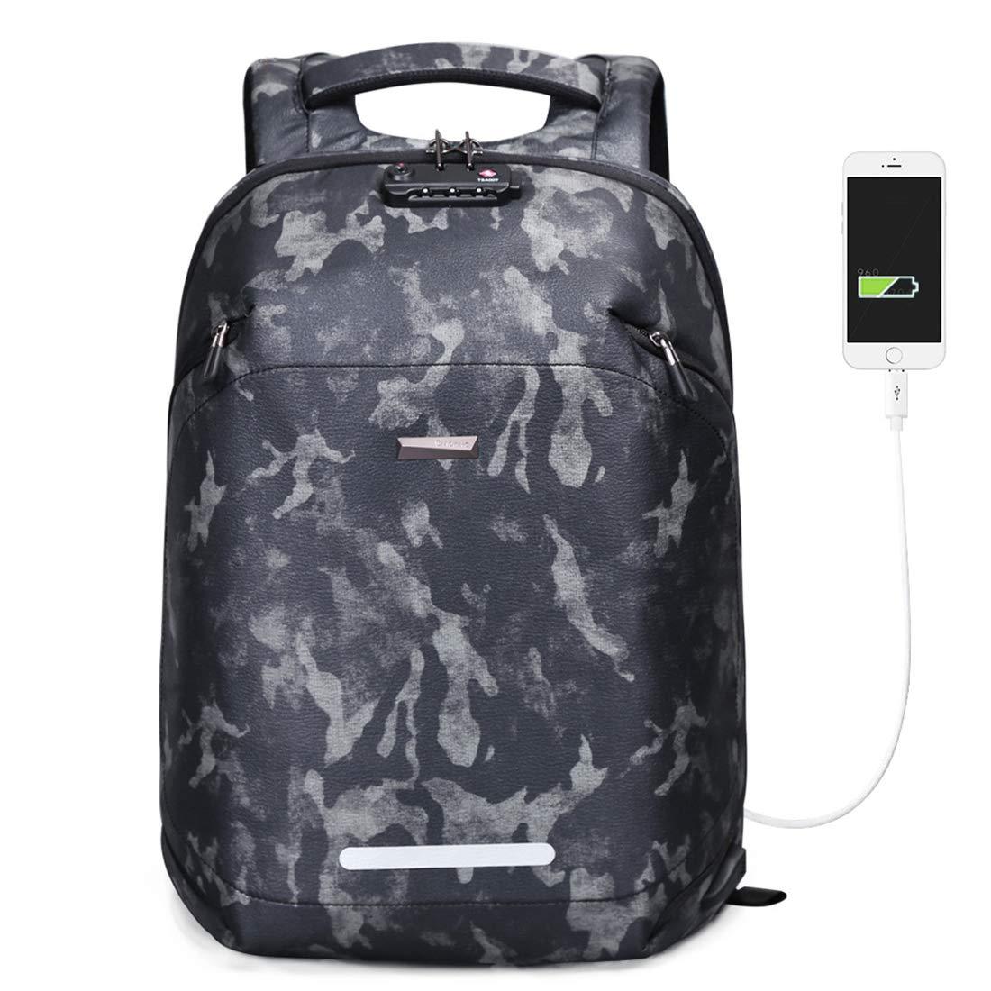 大容量バックパックUSB充電盗難防止学校バッグ税関ロックビジネスコンピュータバッグカモフラージュ   B07KF5T5MX