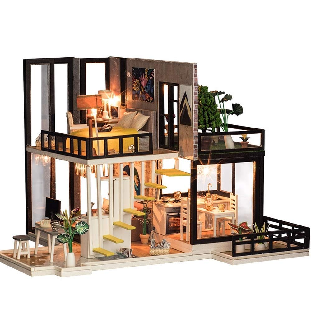 ZMIAO New Luxury Septepber Fores Handmade Furniture Dollhouse Miniature DIY Kit with Light & Music Wood Toy Dolls House Xmas Gift