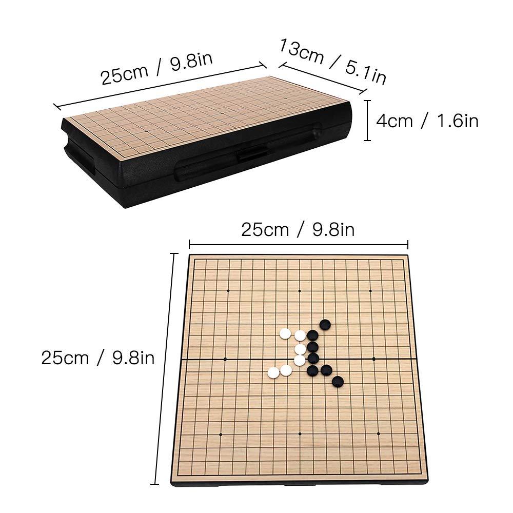 Go Game Set Travel Go Juego de Mesa Juego de Tablero de ajedrez magn/ético con Placas de Almacenamiento para Adultos y ni/ños Explopur Go Set