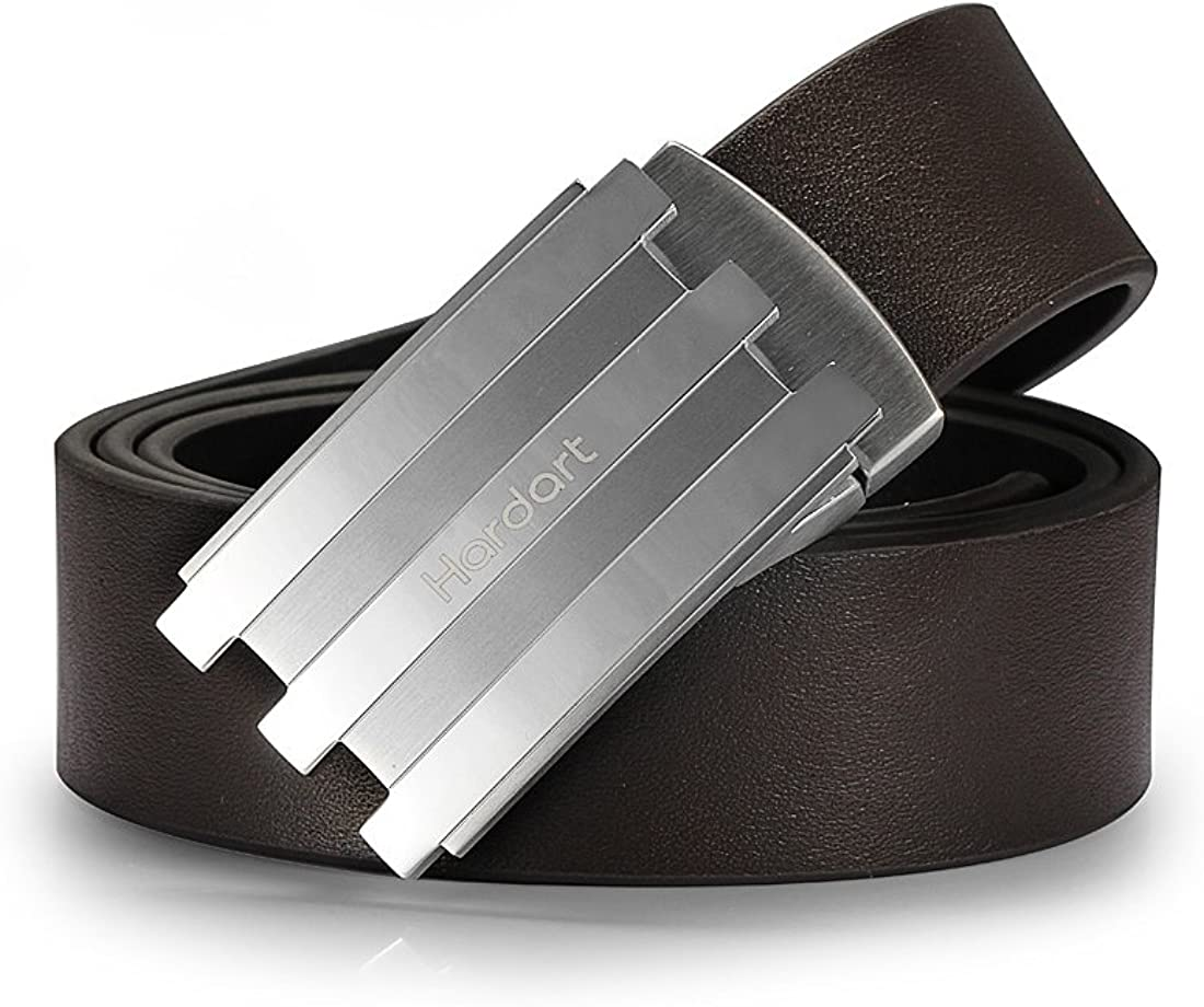 Hardart Formal Mens Lines Pattern Solid Buckle Genuine Leather Belt Silver//Brown