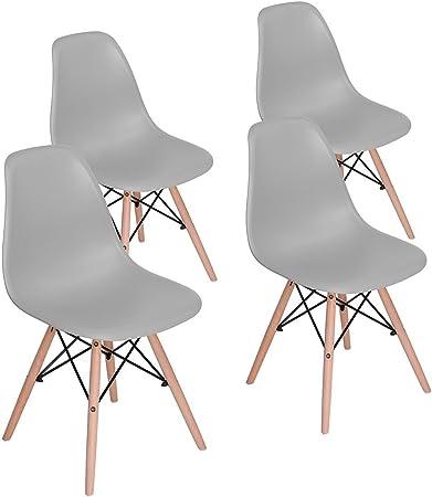MeillAcc Set di 4 sedie da Pranzo in Stile Moderno Pre assemblate Sedia Mid Century Moderna Bianca Sedia in plastica Shell Lounge per Cucina Sala da