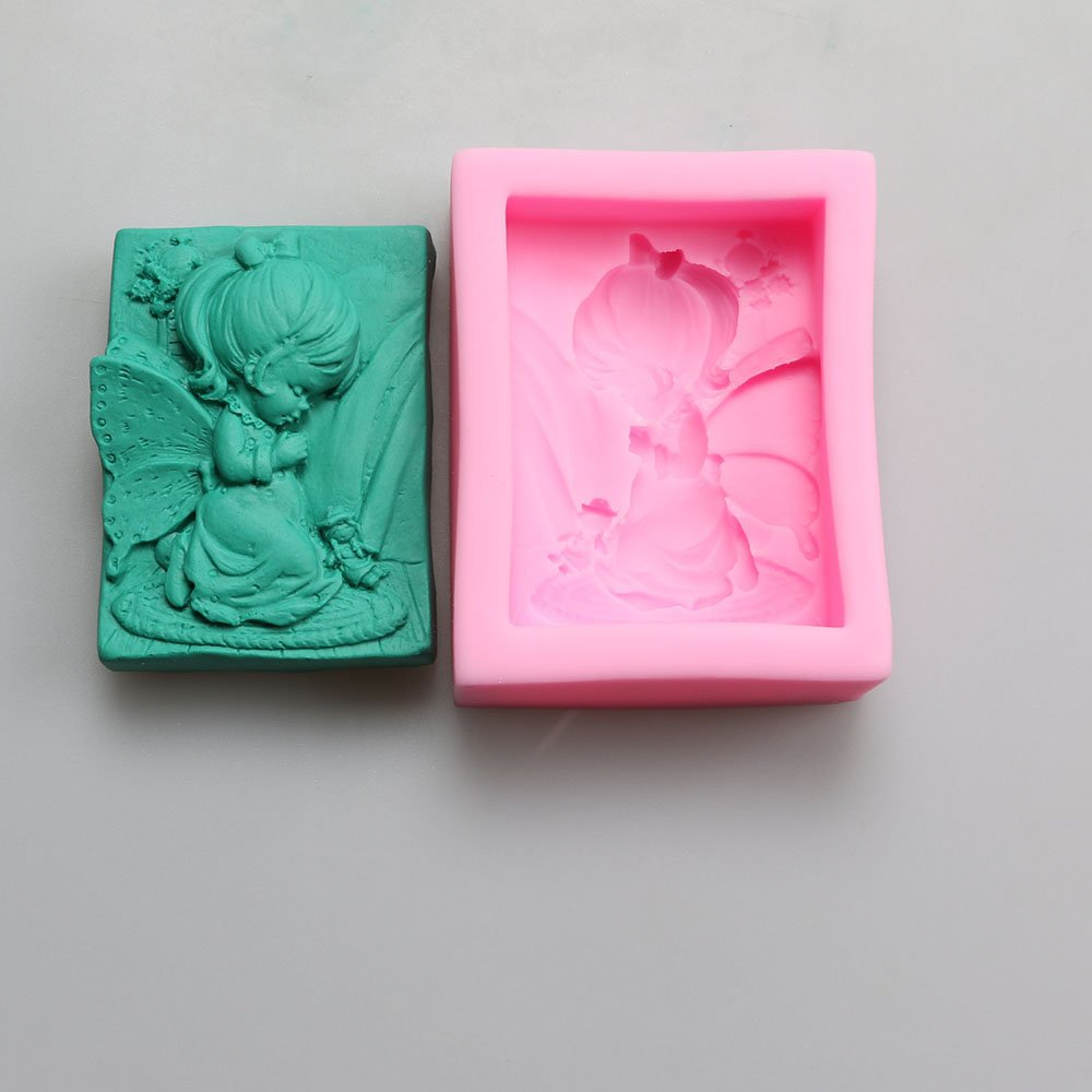 Pinkie Tm Angel girl soap DIY ice cream moon cake soap soap model soft silicone rubber mold