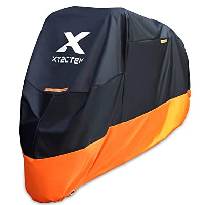 XYZCTEM Motorcycle Cover – All Season Waterproof Outdoor Protection – Precision Fit up to 108 Inch Tour Bikes, Choppers and Cruisers – Protect Against Dust, Debris, Rain and Weather(XXL,Black& Orange): Automotive