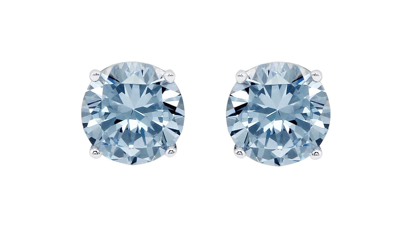Women Round 6mm Blue Topaz 925 Sterling Silver Stud Earrings