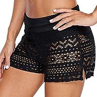 0e8032bdaf489 Kiasebu Women's Lace Crochet Skirted Bikini Bottom Swimsuit Short Skort  Swimdress Plus Size S - 2XL