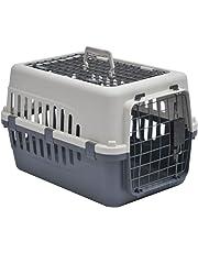 Home Discount Pet Carrier, Animal Cage Cat Dog Transport Box Spring Lock Door, White & Grey, 2 Door