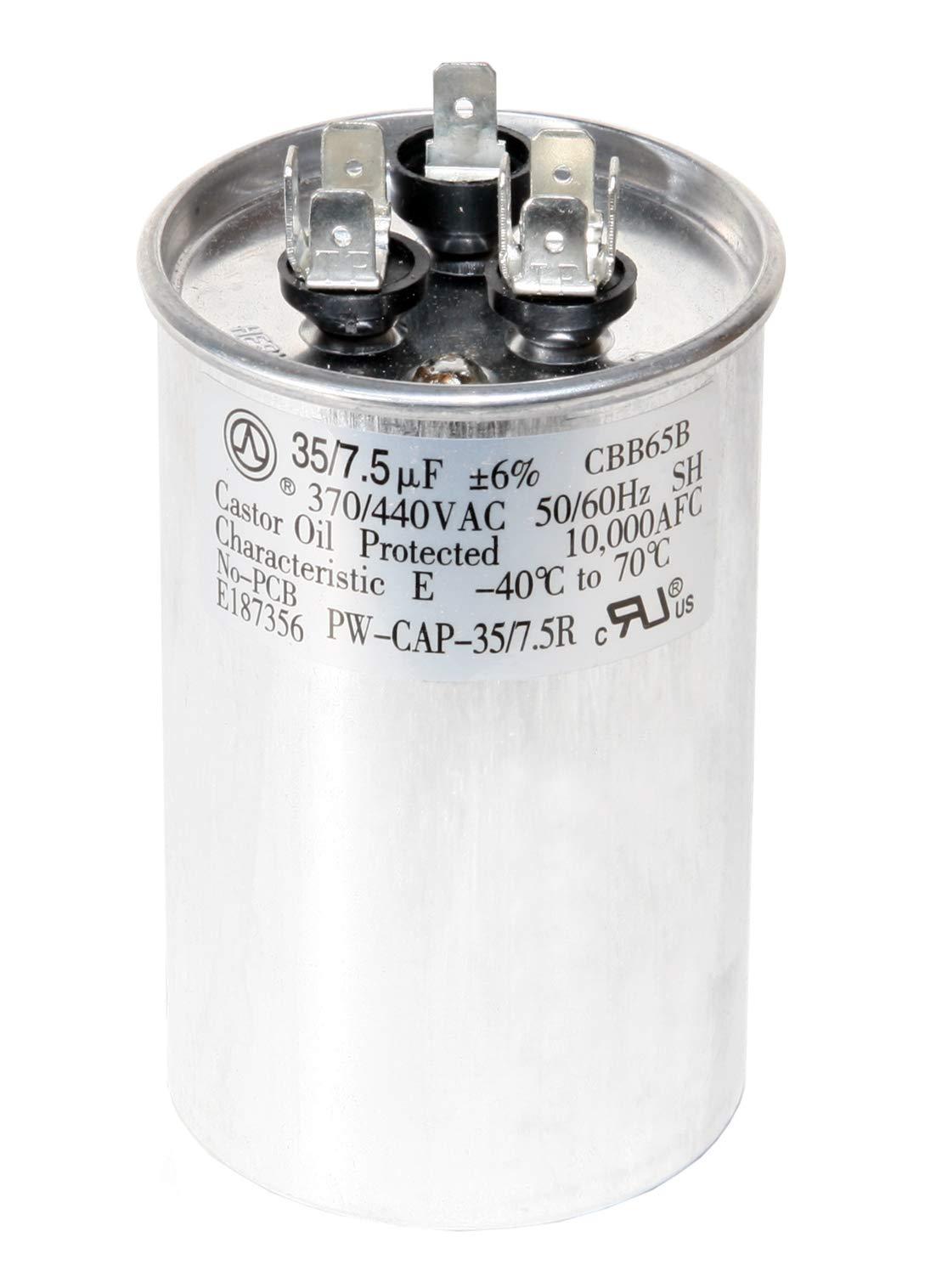 PowerWell 35+7.5 uf MFD 370 or 440 Volt Dual Run Round Capacitor Bundle PW-CAP-35/7.5/440R Condenser Straight Cool/Heat Pump Air Conditioner by PowerWell