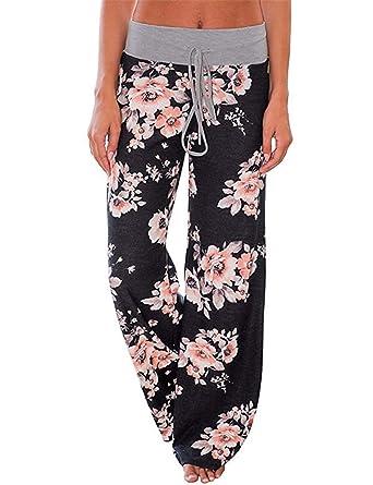 INSTINNCT Women Floral Print Pajama Drawstring Comfy Stretch Palazzo Lounge  Pants Wide Leg 7d31c37b86
