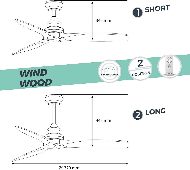 IKOHS Potencia de 75W 3 Aspas de Madera Natural 3 Velocidades Ventilador de Techo con Mando a Distancia 132 cm de Diametro Material del Cuerpo Aluminio Negro - Marr/ón Madera