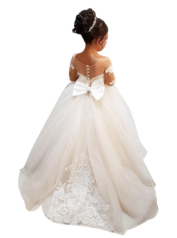 d3046c0d2 Features Long Dress Princess Ball Gown Christmas Wedding Party First  communion Baptism dresses Bow Lace