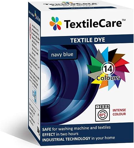 TextileCare Tinte de tela para lavadora para ropa y textiles, 350 g de tinte para ropa de 600 g, 14 colores (azul marino)