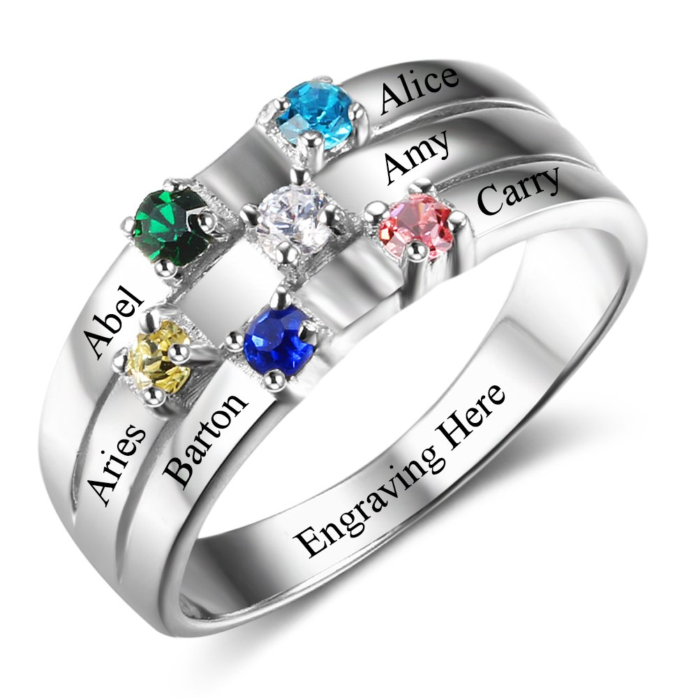 Diamondido Personalized Mothers Rings with Simulated Birthstones Engraved Names Family Jewelry RI102508