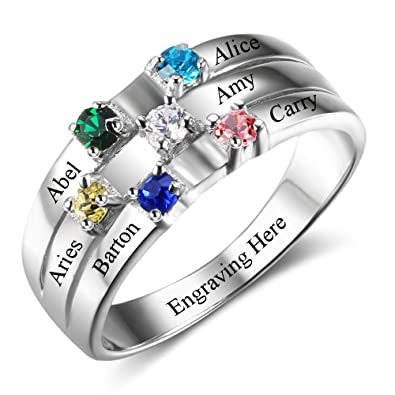 platinum for rings birthstone plated feet ring baby name mom engraved mothers