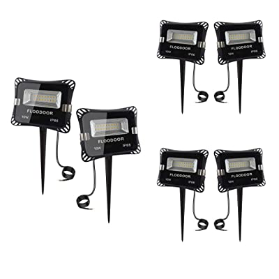 FLOODOOR 12V LED Landscape Lighting 10W Low Voltage AC or DC Outdoor Spotlight, Warm White 3000K, IP66 Waterproof Flood Light with Spike Stand Suitable for Garden, Tree, Lawn, Yard, Fence [6 Pack]