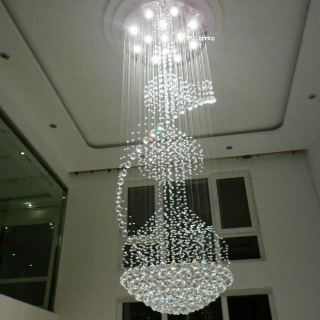 7PM D32'' x H94'' Modern Contemporary Crystal Chandelier Luxury Round Rain Drop Lamp Clear LED Light Lighting Fixture Staircase