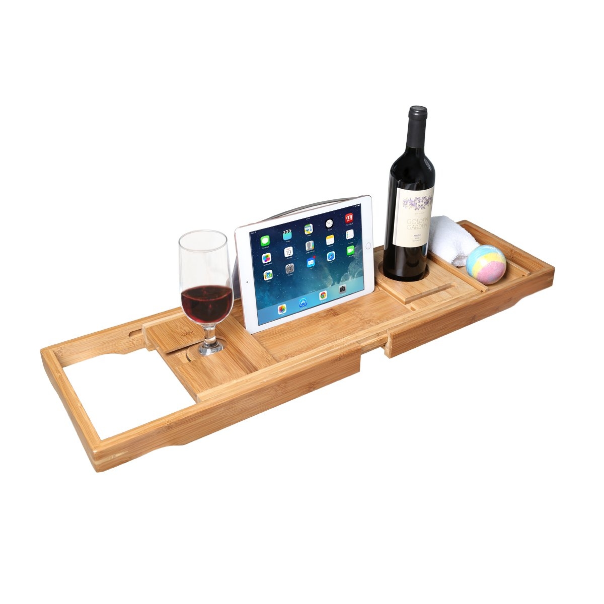 Bathtub Caddy Tray with Book Tablet Wine Holder for Reading & Relaxing - Made from Natural Bamboo, Over Bathtub Tray with Extending Sides AntArt