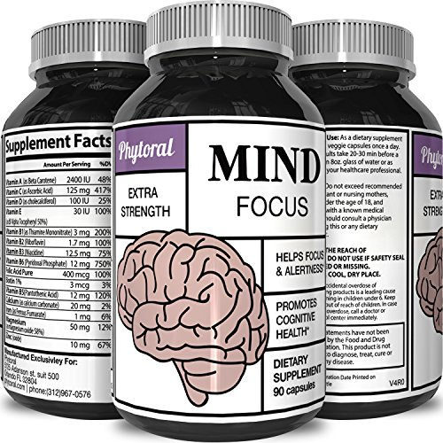 Herbal Vitamins (Enhance Brain Memory + Boost Focus + Improve Clarity Mind Booster Supplement For Men And Women - Contains Vitamins + Pure Herbal Ingredients - Natural Cognitive Brain Nutrition By Phytoral)