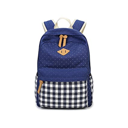 Blinedy Grid Pattern Canvas School Backpack for Women and Men Casual Backpack School Bag Daypack Teenage