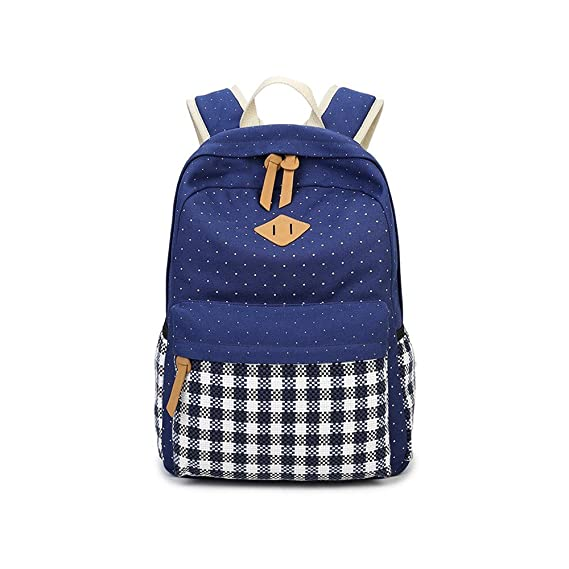 Amazon.com: Blinedy Grid Pattern Canvas School Backpack for Women and Men Casual Backpack School Bag Daypack Teenage Rucksack for Hiking going to school ...