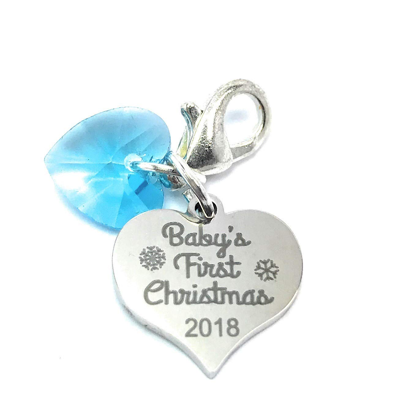 Libby's Market Place Baby's First Christmas 2018 Clip On Charm with Blue Crystal comes with 3 Different Gift Options and a Gift Card - Handmade (Gift Box) Libby' s Market Place