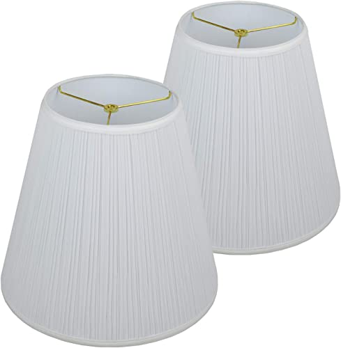 FenchelShades.com Set of 2 Lampshades 9 Top Diameter x 16 Bottom Diameter x 15 Slant Height with Washer Spider Attachment for Lamps with a Harp Pleated Mushroom White