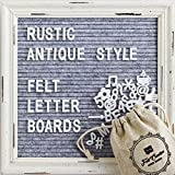 #6: Gray Felt Letter Board with Rustic White Wood Vintage Frame and Stand by Felt Creative Home Goods | 10x10 Inch Antique Changeable Message Board Includes 340 White Alphabet Letters, Numbers, Emojis