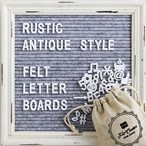 Gray Felt Letter Board with Rustic White Wood Vintage Frame and Stand by Felt Creative Home Goods | 10x10 Inch Antique Changeable Message Board Includes 340 White Alphabet Letters, Numbers, - Year What Retro Is