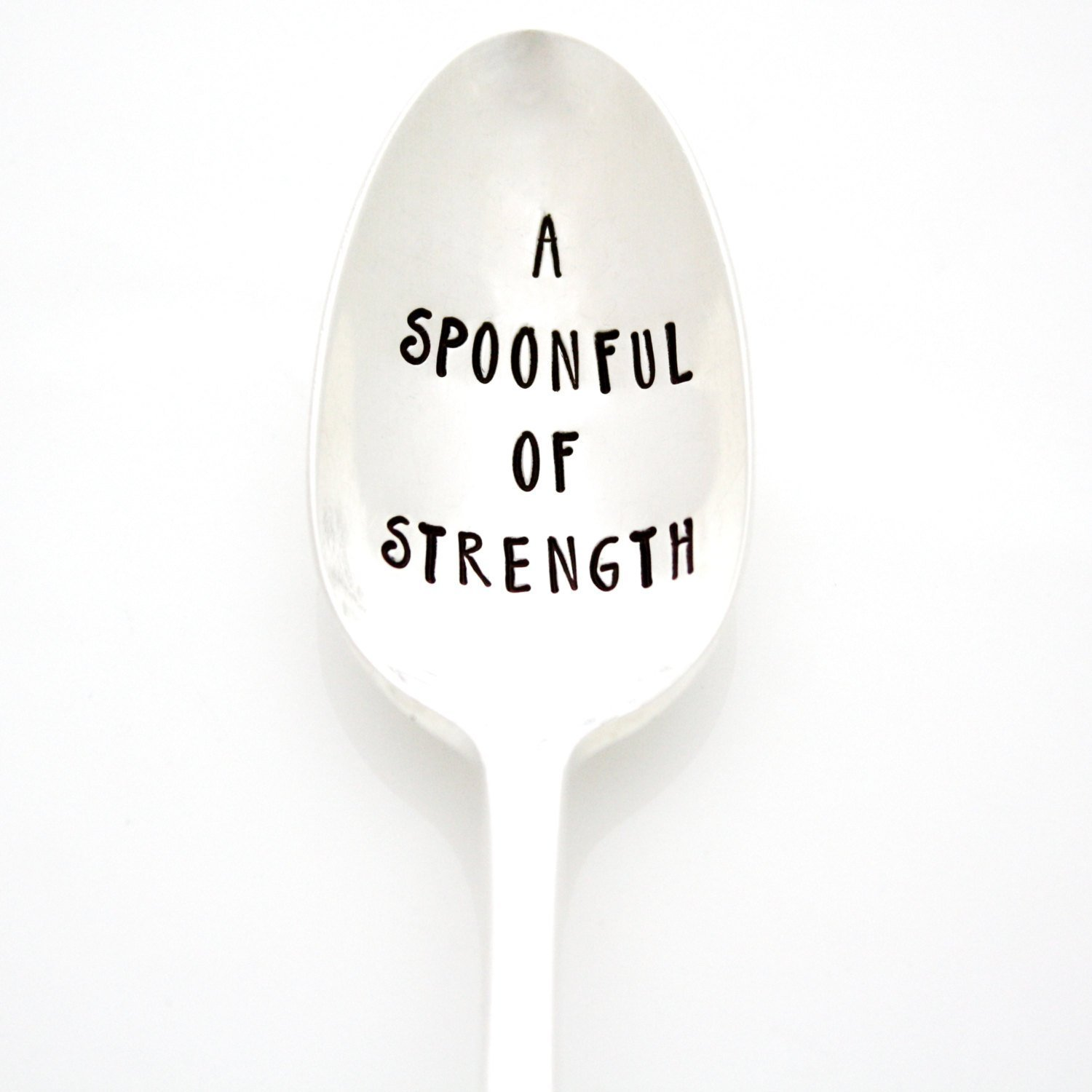 A Spoonful Of Strength. Hand Stamped Vintage Spoon for spoonies. Part of the Martha Stewart American Made Market.