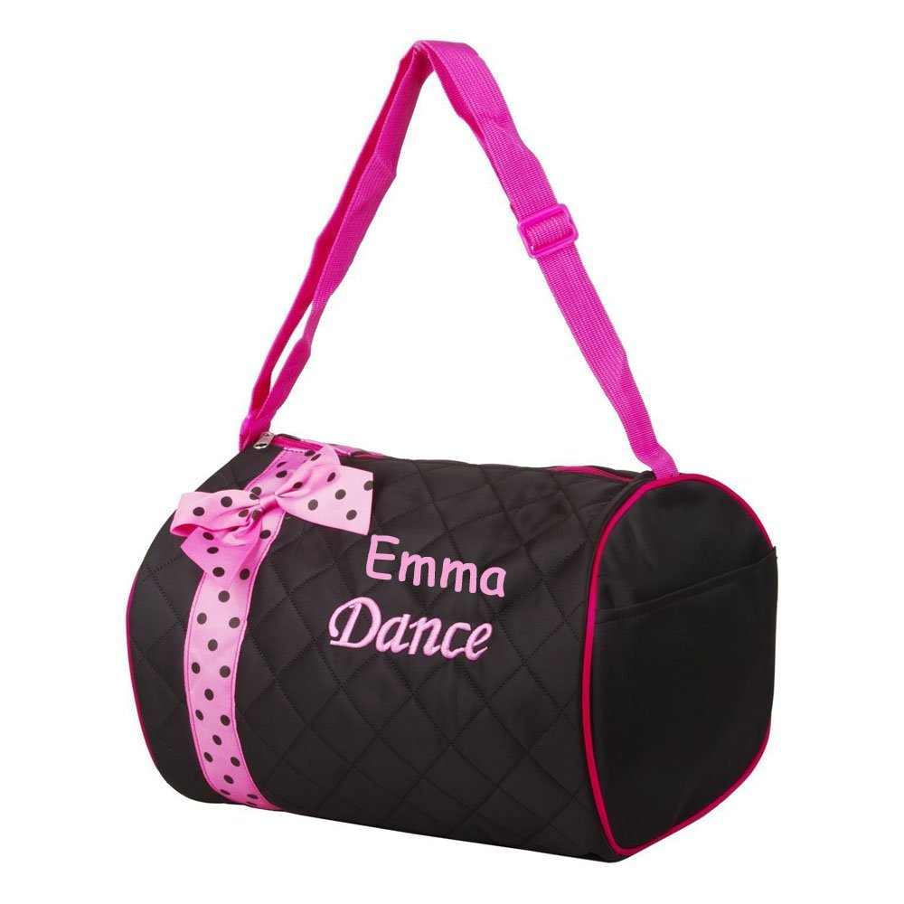 7677eba15548 Amazon.com  Personalized Quilted Black with Pink Bow and Polk a Dots Dance  Duffel Gym Bag  Sports   Outdoors