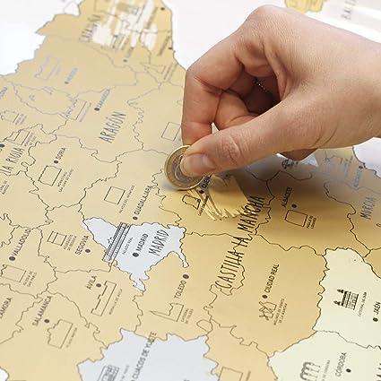 Mapa de España para rascar: Amazon.es: Oficina y papelería