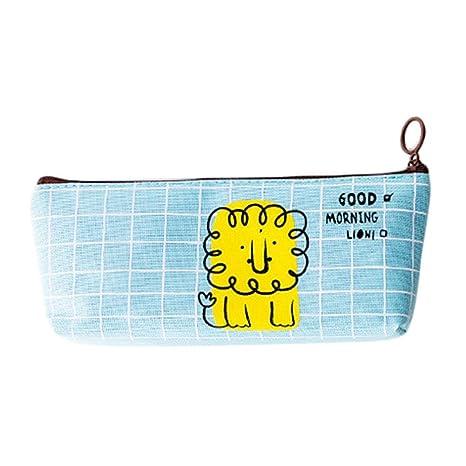 Kentop PHC estuche infantil dibujos animados animales – Bolsas de papel lápices funda estuche, piel, león, 20*4.5*8CM