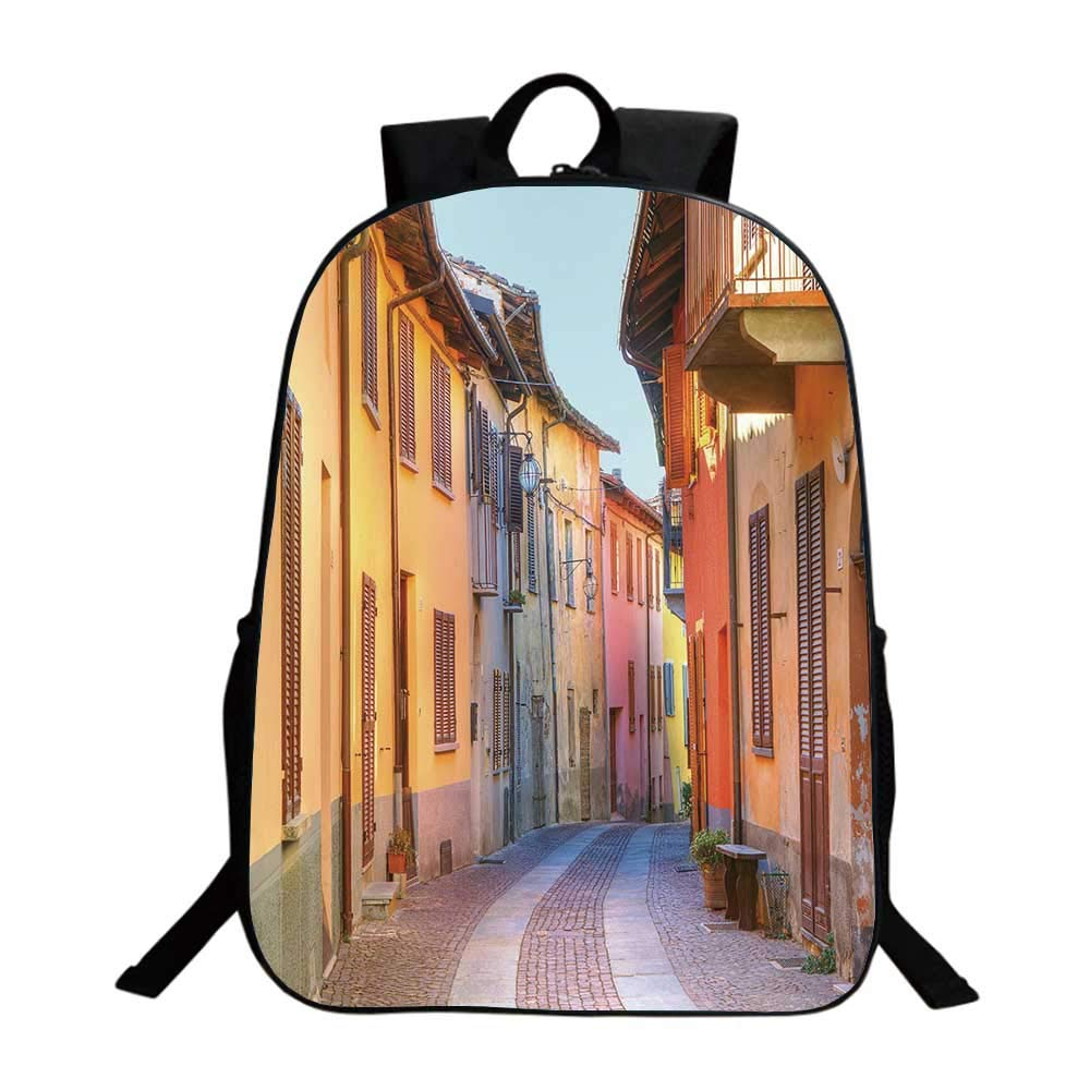 Italy Multifunction School Bag,Narrow Paves Street Among Old Houses in Town Serralunga DAlba Piedmont Decorative For school,One_Size