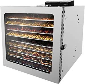 SEAAN Electric Food Dehydrator Machine 10 Trays for Beef, Jerky, Herb, Vegetable, Fruit, Dog Treats Food Drying Machine with Digital Timer and Temperature Control, Stainless Steel