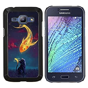 "Be-Star Único Patrón Plástico Duro Fundas Cover Cubre Hard Case Cover Para Samsung Galaxy J1 / J100 ( Hermosa Magia Koi Fish & Cat"" )"
