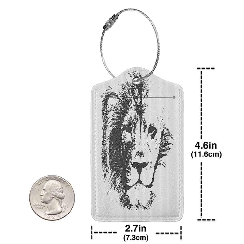 Flexible luggage tag Tattoo Decor The King of the Jungle Pencil Drawing Handmade Majestic Lion Head Image Fashion match Grey and White W2.7 x L4.6
