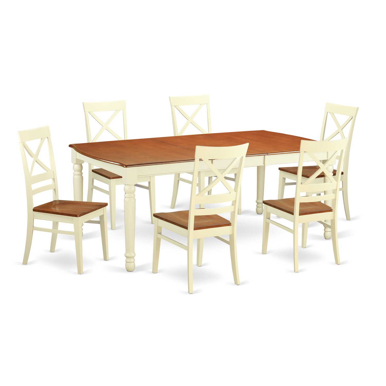 DOQU7-WHI-W 7 PC Table set -Kitchen dinette Table and 6 Dining Chairs