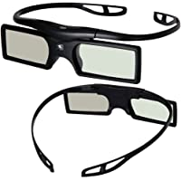 [Sintron] 2X Universal 3D RF Active Shutter Glasses Bluetooth Eyewear Glasses for 2015 2016 2017 Sony 3D TV & 3D Projector, Compatible with TDG-BT500A TDG-BT400A (2 Pairs), Black, 27g