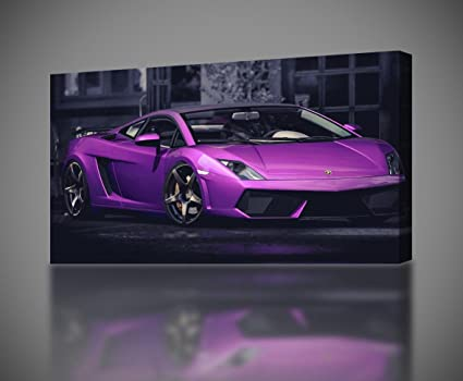 Amazon Com Lamborghini Gallardo Purple Canvas Print Decor Giclee